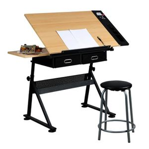 TABLE A DESSIN Yaheetech Table à Dessin avec plateau d'extension