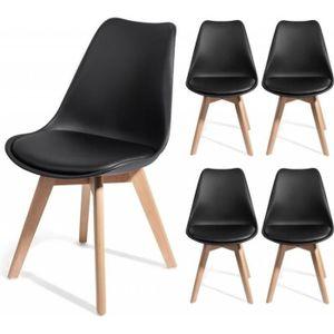 CHAISE BREKKA NOIR Lot De 4 Chaises Design Contemporain N