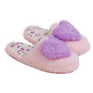 Pantoufles Femmes Hiver Chaud Doux Confortable Pantoufle Adult Cartoon Slippers Peluche Cute Heart Patterns violet 41 DagemCz