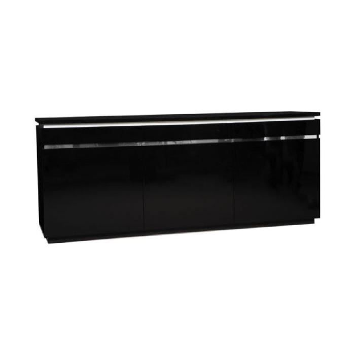 BUZZ Buffet 200cm avec éclairage laqué noir - Achat / Vente buffet ...