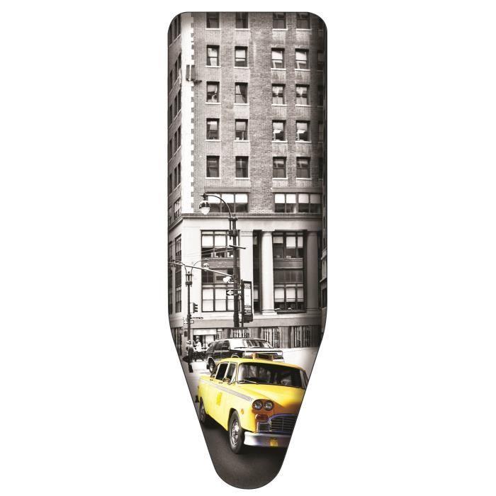 Housse de repassage 3 couches enduction TITANIUM - 100 % coton - Haute résistance à la chaleur (sup à 250°C) - Facile à installer grâce à son cordon et clip de maintien - Motif New-York - Taille L (130 x 48 cm)ACCESSOIRES REPASSAGE - COUTURE - PIECES REPA