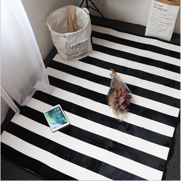 Tapis rayé noir et blanc Tapis de salon pour entrée,chambre à ...