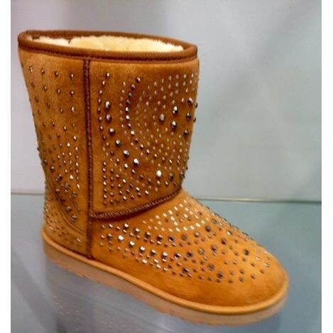 Bottes/boots femme 36 chamiois strass fourrees fourrure