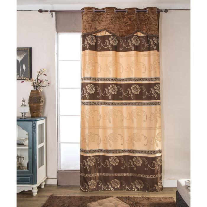 Rideau marron motif achat vente rideau marron motif pas cher cdiscount - Paire de double rideaux pas cher ...