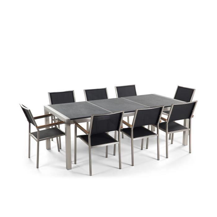 Table de jardin acier inox - plateau granit triple noir flambé 220 ...