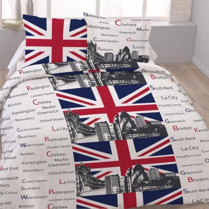 housse de couette london coton 240x220 - achat / vente housse de