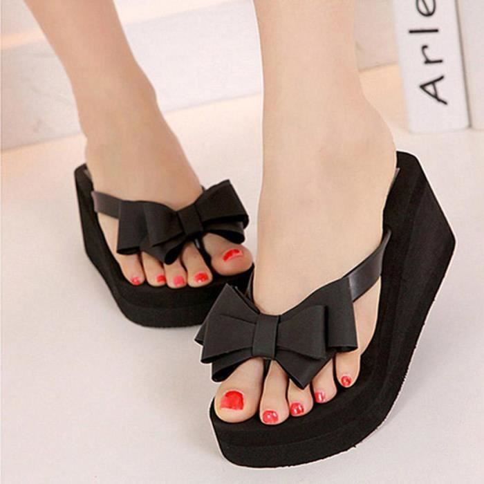 Femme chaussures Thong Wedge Beach Sandals Bowknot