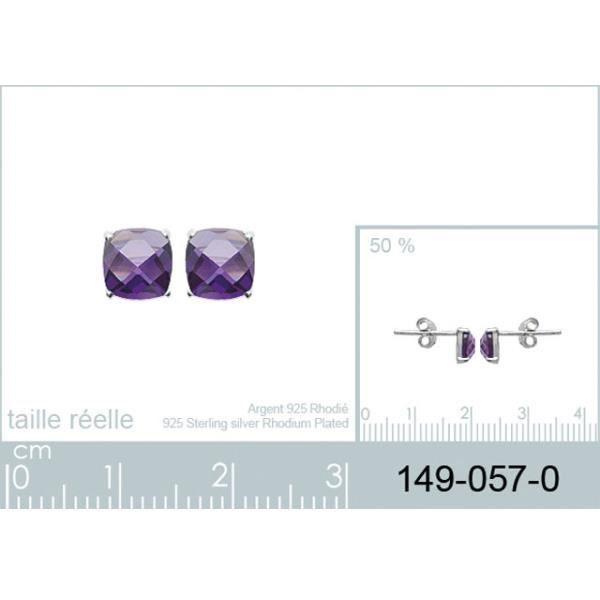 Boucles doreilles en argent avec pierre violette