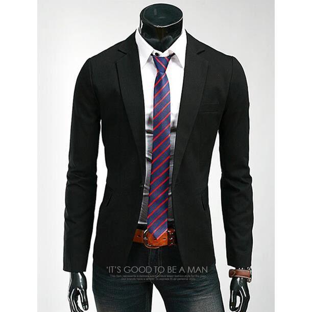 surprise homme printemp slim fit un bouton blazer costume homme 5 taille couleur noir noir. Black Bedroom Furniture Sets. Home Design Ideas