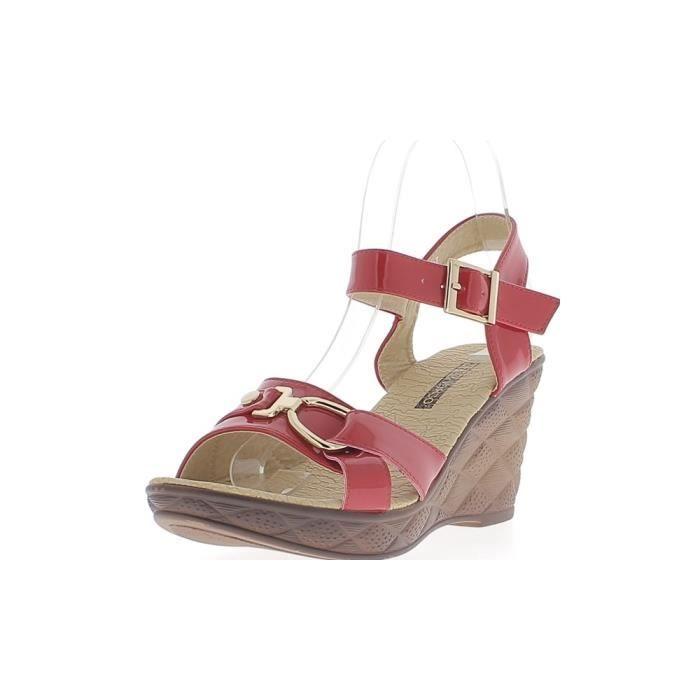 Sandales compensées femme rouges vernies talon de 8,5cm