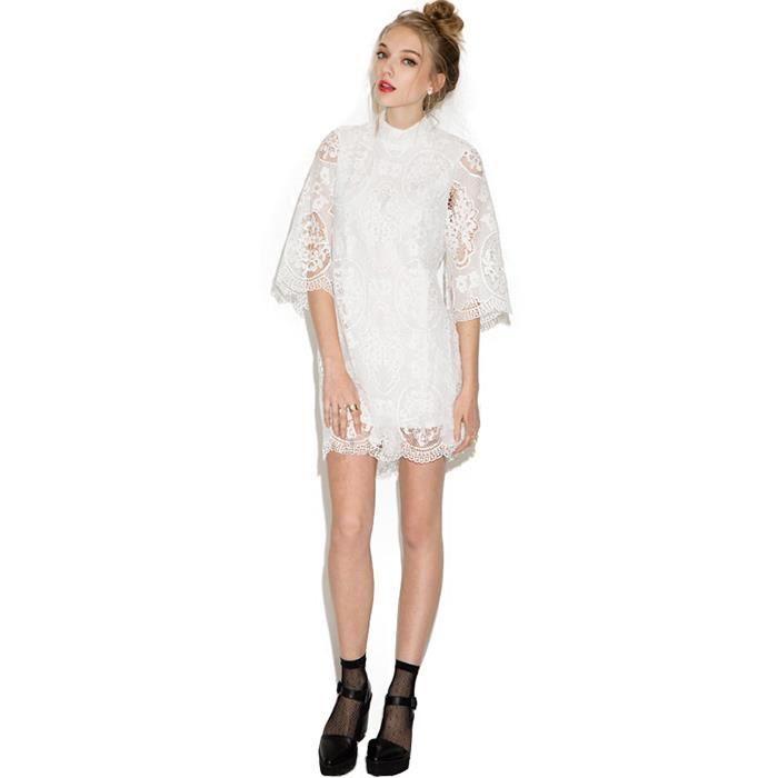 Robe Femme Dentelle évider Col Haut Col Rond Manchon Moyen Couleur Unie Blanc élégant