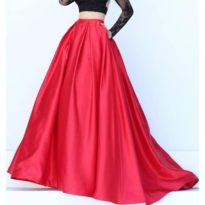 5babdd76d2b59 Jupes Longue Femme Maxi Satin Pour Bal Soirées Cérémonie Femme Rouge ...