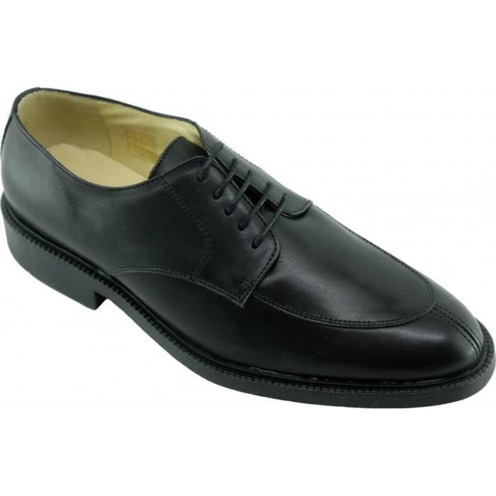 Plymouth - Derby ville à lacet bout rond marque SOFT & FLEX.co by LEH chaussure Homme souple et confortable cuir noir