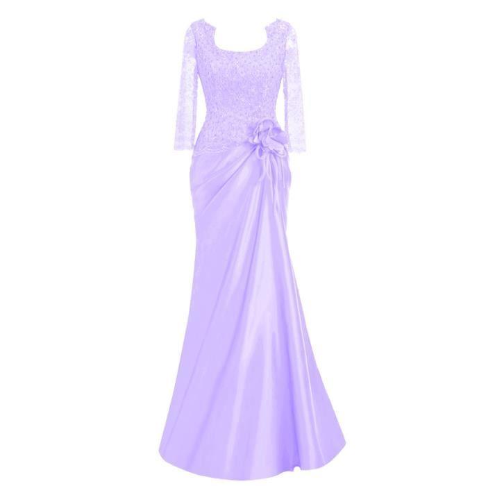 72aa135d8727 Violet pâle Robe de Soirée Cocktail Mariage Longue Demi-Manche Dentelle  Sexy Transparent Froncé Orné Fleur Élégant Grande Taille