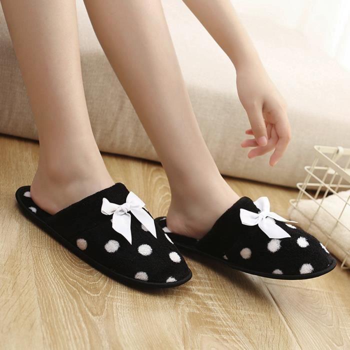 Sidneyki®Bottes d'hiver pour femmes noeud papillon en peluche chaussures de plein air bottes de neige chaud cheville BKNoir XKO719 DEqMxINeg
