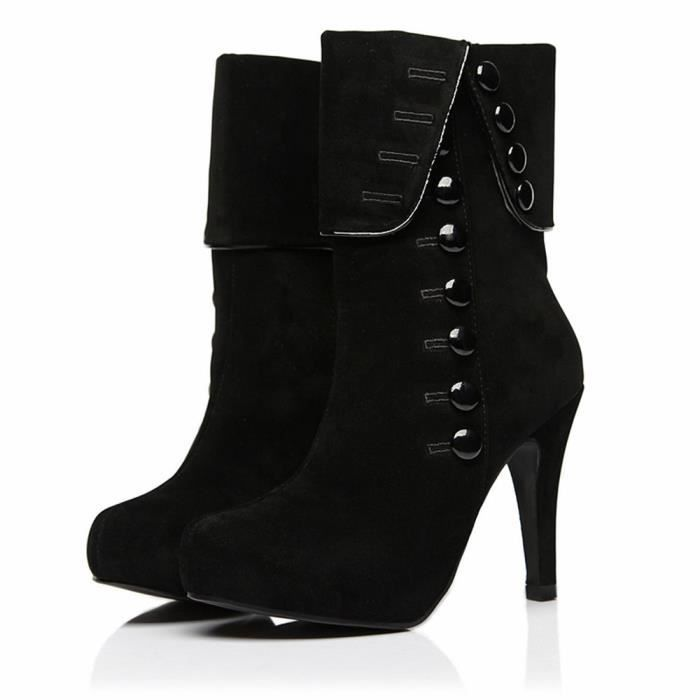 vente chaude en ligne 7bbb3 fe2ab Bottines Femmes Talons hauts Mode Chaussures BYLG-XZ022Noir35