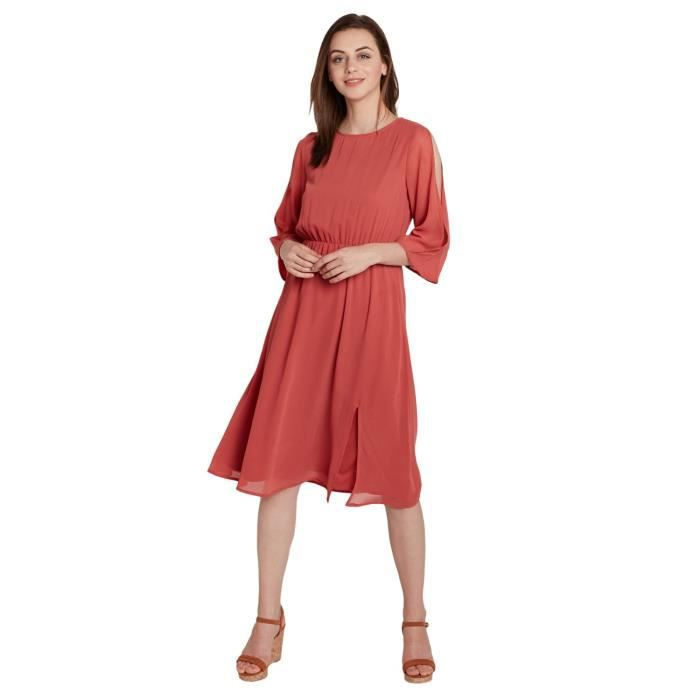 Sombre Rose Slit Femmes manches Robe mi-longue 1ZRCGN Taille-42