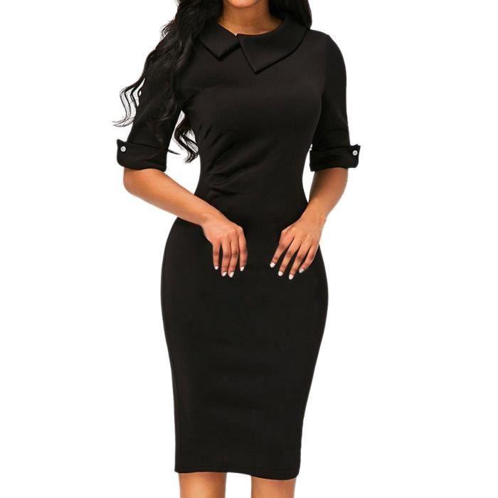 official photos 77550 4e7f2 Les femmes rétro moulante au-dessous du genou formel robe de bureau robe  crayon avec fermeture à glissière au dos@Noir EXQUISGIFT