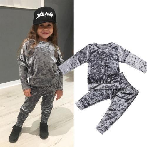 6767c5f932 Enfant en bas âge enfants bébé fille vêtements t-shirt top pantalon tenue  ensembles survêtement