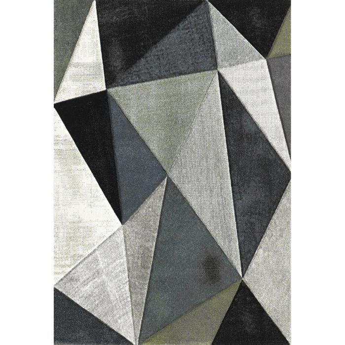 BELIS Tapis de salon 80x150 cm - Gris, Noir et Blanc - Achat / Vente ...