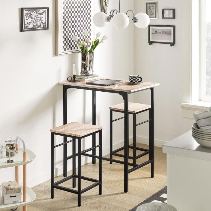 SoBuy® OGT10-N Ensemble table de bar bistrot + 2 tabourets avec ...