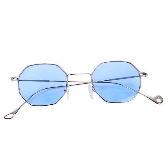 vintage lunettes de soleil carrees octogonales pour hommes et femmes ,  monture de lunettes en metal, S17025, bleu 2cb1ee968db3