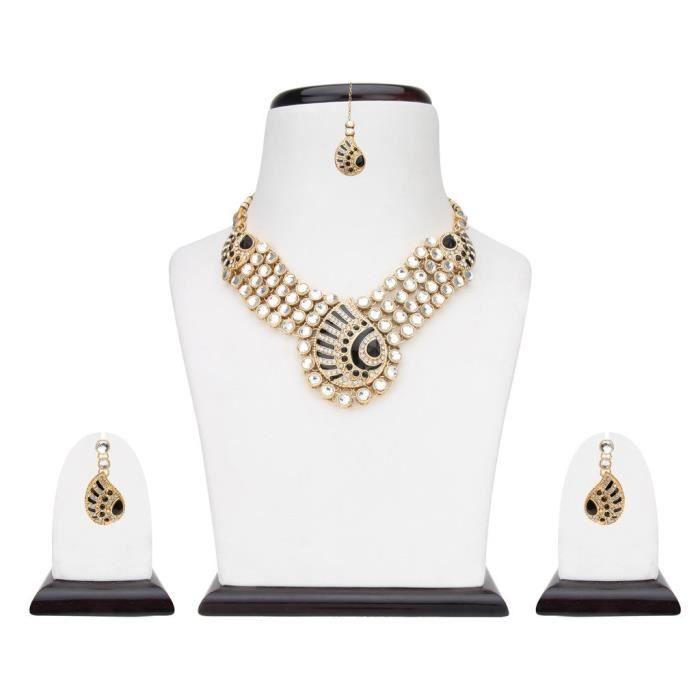Femmes Kundans mariée noire en alliage métallique Ensemble de bijoux avec collier et boucles doreilles Maang Tikka PourU0O2J