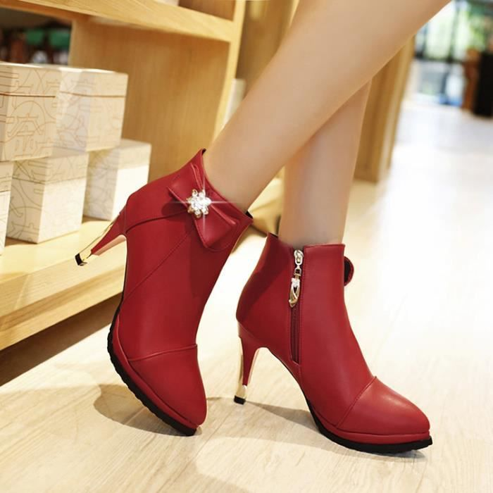 bottes courtes-Pure Color High Heel Heel Thin l... w2tYmPU9W