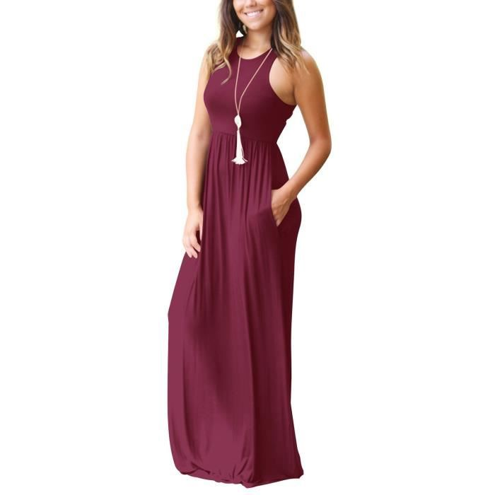 Casual Women Long - manches courtes Robe longue avec poches 2NMOO6 Taille-34