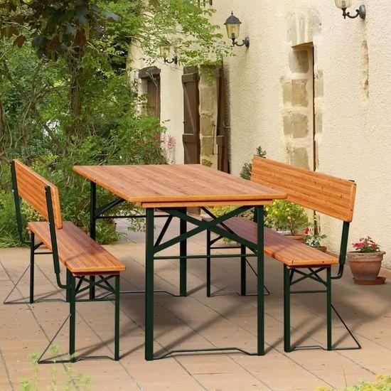 Table pliable et 2x bancs avec dossier - Salon de jardin ...