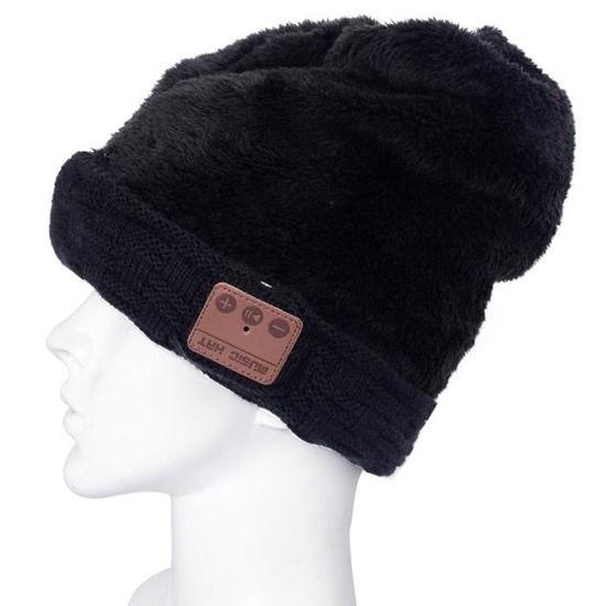 07052e349a58 Bonnet Connecté pour garçon et fille et adultes noir texturé tricoté casque  Bluetooth chaud d hiver avec micro - casque - écouteurs, avis et prix pas  cher - ...