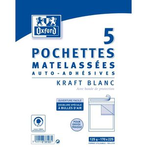 OXFORD 5 Pochettes Matelassées - 22,5 cm x 17 cm x 3 cm