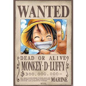 AFFICHE - POSTER ONE PIECE - Plaque métal Luffy Wanted