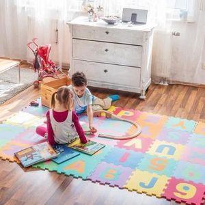 TAPIS ÉVEIL - AIRE BÉBÉ LO Puzzle Tapis de Jeu Enfant en Mousse EVA, Dalle