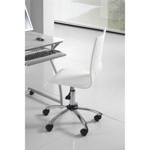 CHAISE Chaise à roulettes de bureau en bois laqué blanc a