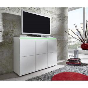 Buffet Tv Rocket Meuble Moderne En Blanc Brilliant Achat Vente