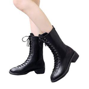 0b75c01ad58e BOTTE Chaussures Rivets en cuir pour femme Moyen-Boot Pl