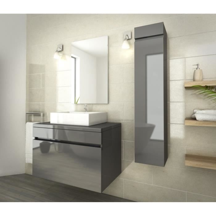 luna ensemble salle de bain simple vasque l 80 cm gris verni achat vente salle de bain. Black Bedroom Furniture Sets. Home Design Ideas