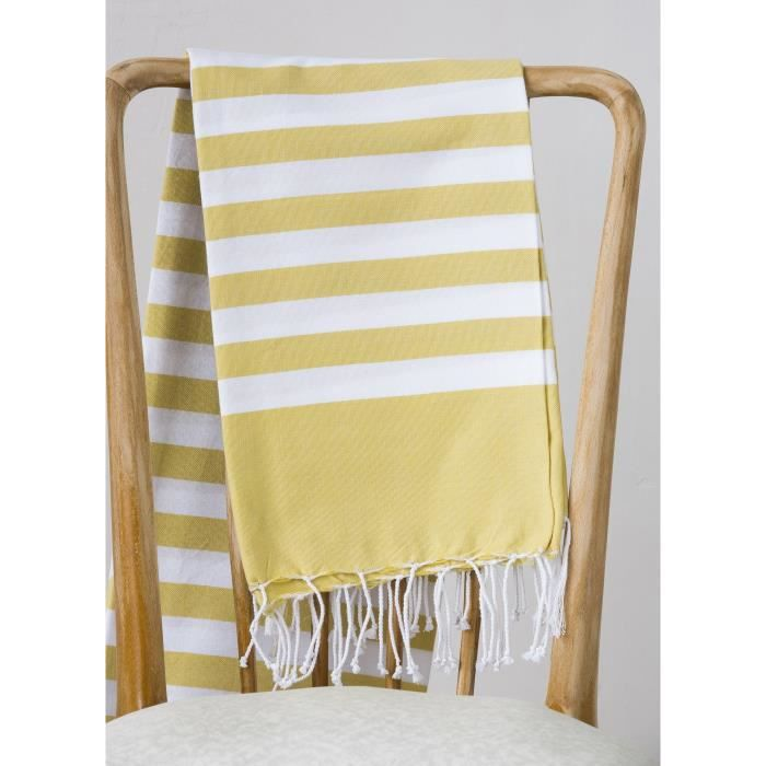 Fouta 100% coton Rayure C 100x200 cm moutarde