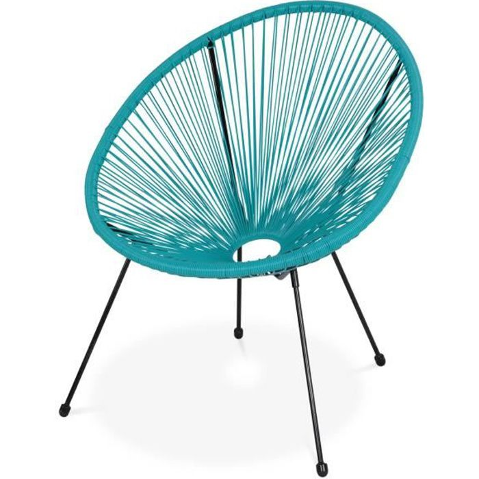 fauteuil acapulco forme d'oeuf - turquoise - fauteuil 4 pieds design