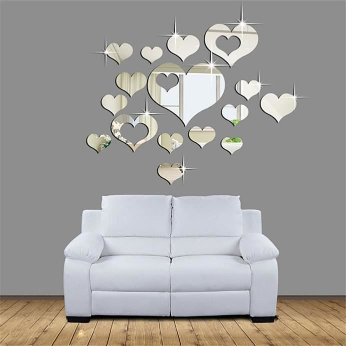 Charming Stickers Muraux Pour Chambre Adulte #9: Home 3D Amovible Coeur Decor Wall Art Stickers Sal. Où Trouver Lu0027offre Stickers  Muraux Pour Chambre Adulte ...