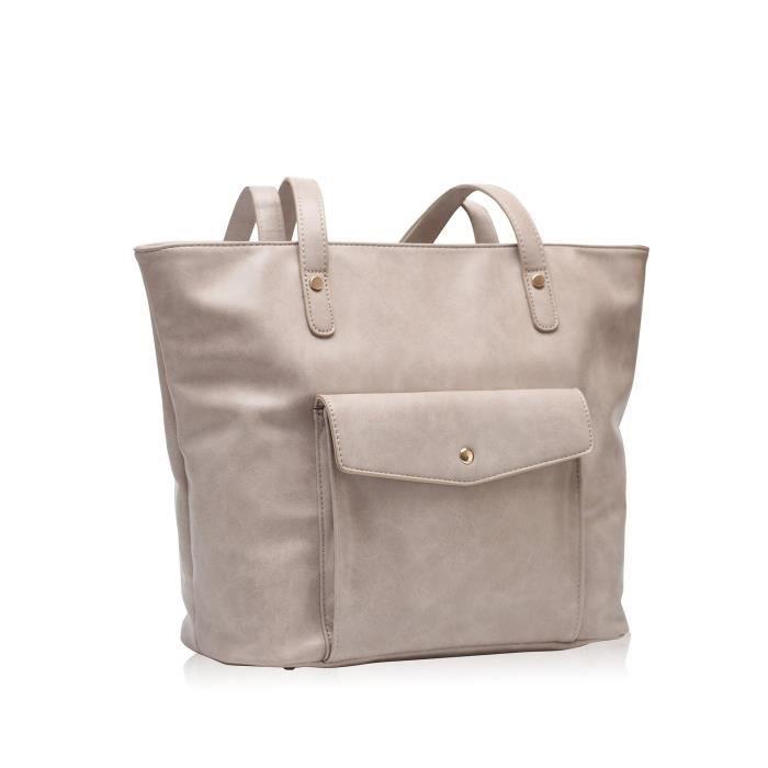 Vintage Grand sac fourre-tout Sacs à main en cuir synthétique Shopper Sac à bandoulière Brown MLXVH