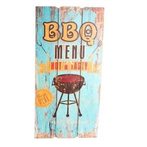 TABLEAU - TOILE Tableau bois Barbecue Pub vintage - 60 x 30 cm