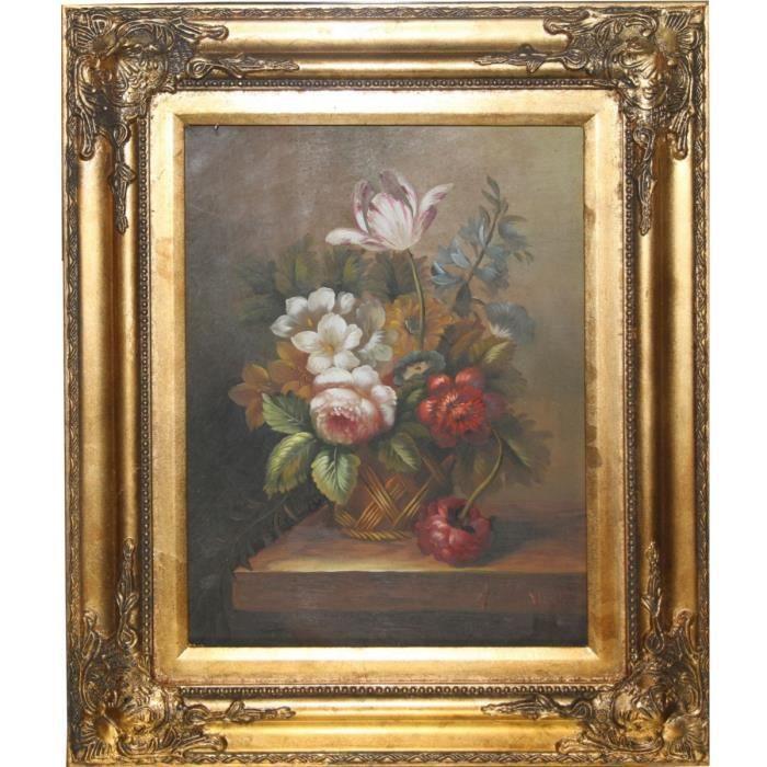 Peint à la main baroque peinture à l\u0027huile fleurs nature morte or pompeux  cadre 58 x 47 cm