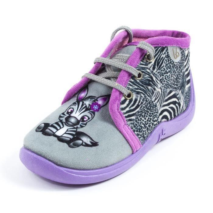 915ee5e2220c4 Babybotte Chaussons tissu fille à lacets MAMOUT gris motif zèbre ...
