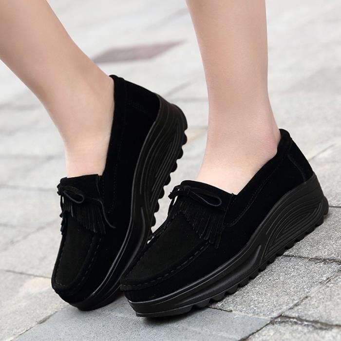 chaussures multisport Femme Automne - hiver femme casual Plate-forme en cuir talon haut noir taille36