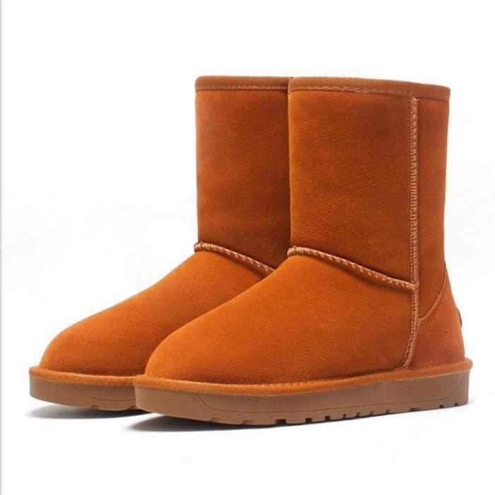Bottes de neige pour dames Bottes hiver Chaussures en coton Chaussures plates Chaussures