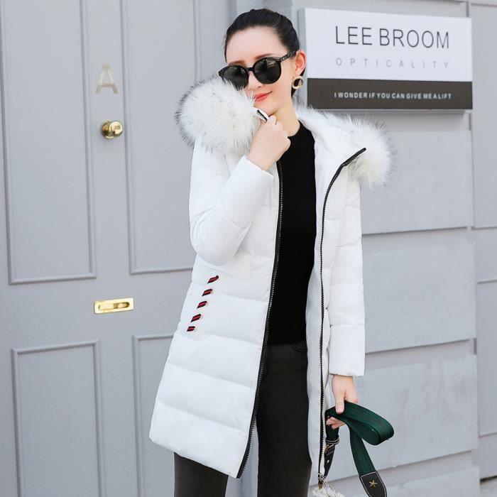 site réputé c4c7c 87e62 dame femme fille manteau d'hiver chaud en fausse fourrure à capuchon épais  chaud Veste Slim long manteau blanc
