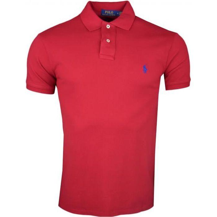 be8f26abd1e Polo Ralph Lauren rouge en piqué slim fit pour homme - Couleur  Rouge -  Taille  M