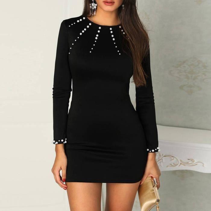 mode de luxe profiter de prix pas cher grande variété de modèles femme perlé à manches longues Robe moulante Pull Ladies cocktail Mini robe  Noir